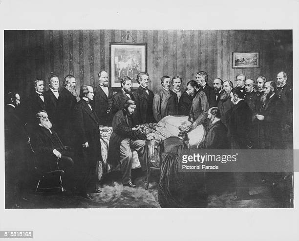 Printed lithograph of Abraham Lincoln on his deathbed surrounded by his friends and colleagues following an assassination attempt April 15th 1865...