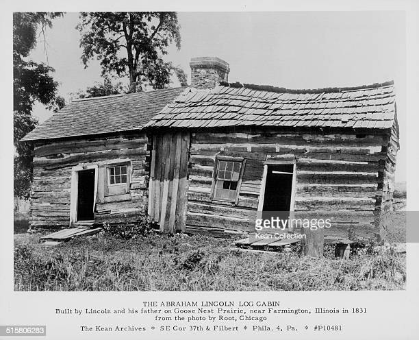 Printed lithograph of the childhood log cabin home of President Abraham Lincoln built by Lincoln and his father on Goose Nest Prairie Illinois 1831
