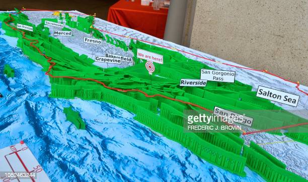 A 3D printed model of California Faults map created by researcher Christos Kyriakopoulos from the faculty of the University of California Riverside...