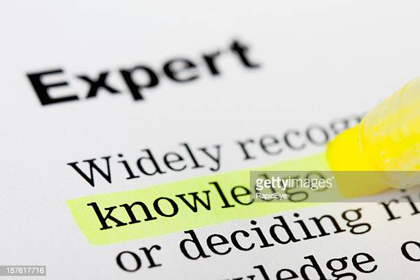 Printed page with 'knowledge' highlighted yellow