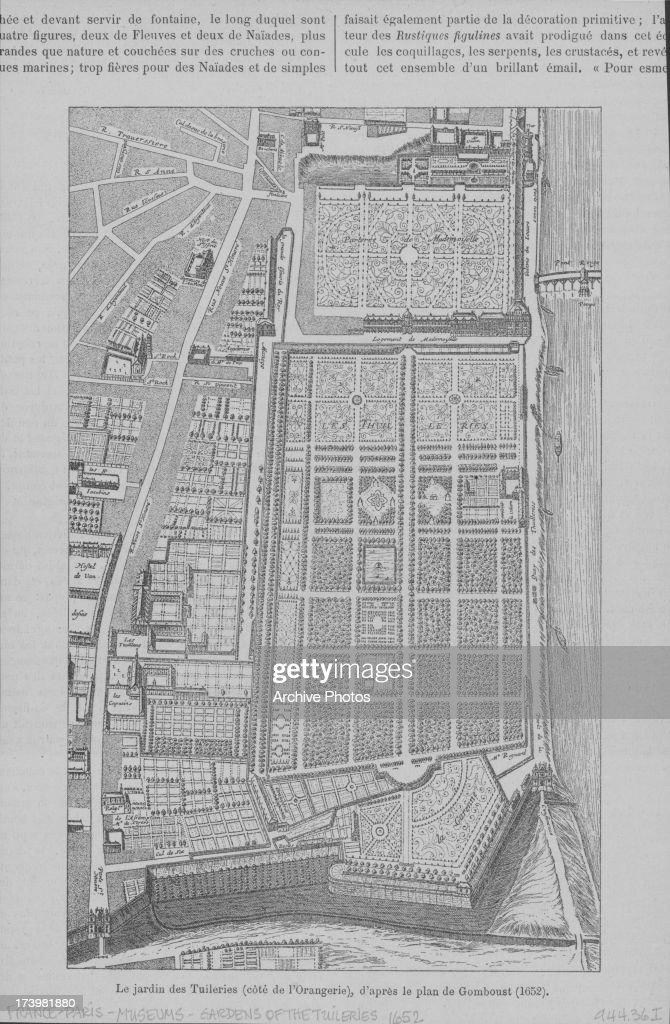 Printed Plan Of The Tuileries Garden A Public Garden Located