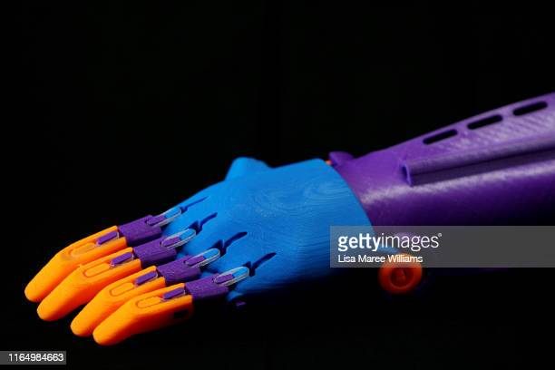 Printed prosthetic arm by Bernie Craven, founder of Waste Free Systems and University of Technology Sydney research grant recipient as seen at his...