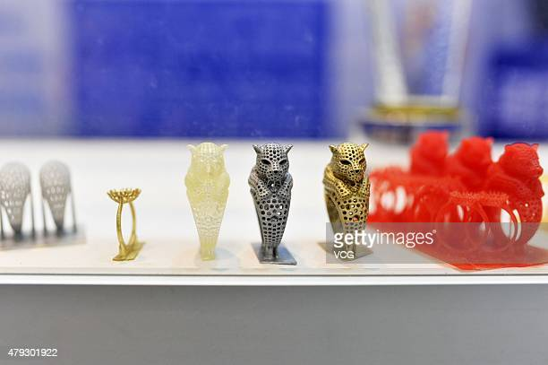 3D printed rings are seen on China International Software Convergence Innovation Expo 2015 on July 3 2015 in Qingdao Shandong Province of China The...