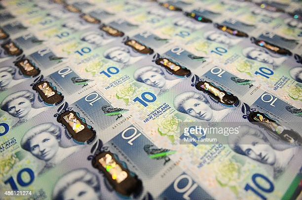 A printed sheet with the new $10 banknotes on display at the Reserve Bank of New Zealand on September 1 2015 in Wellington New Zealand The Reserve...