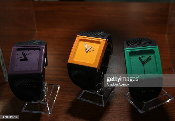 A 3D printed watches are displayed during the 3D Prints Design Show at Javits Center in New York on April 16 2015 The 3D Print Design Show taking...