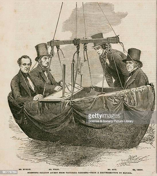 Printed woodcut from �The Illustrated London News� after a daguerrotype by Mayall showing four men in the car of a balloon waiting to ascend...