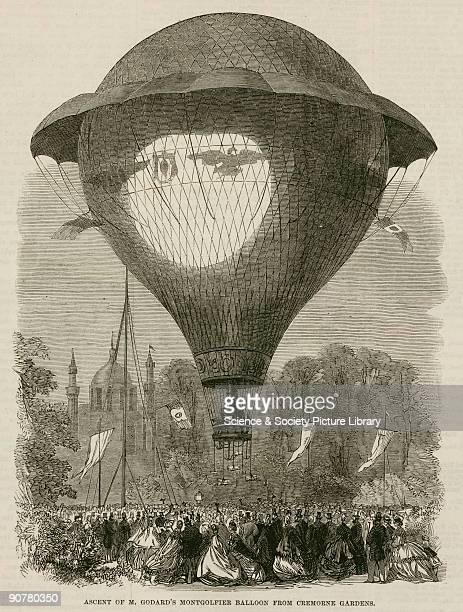 Printed woodcut from �The Illustrated London News� showing Godard�s giant balloon �L�Aigle� ascending from Cremorne Gardens in London in 1864 Eugene...