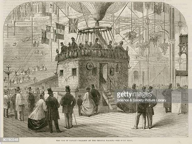 Printed woodcut from �The Illustrated London News� This giant balloon was built by Godard for the French photographer and aeronaut Felix Tournachon...