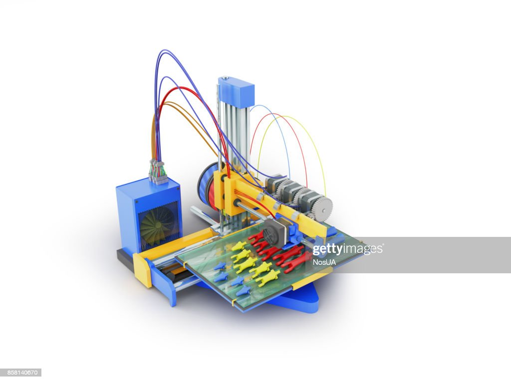 Printer 3d Print The Prosthesis Hand In Parts Render On White Printers With Wired Network Cable Diagram Background Stock Photo