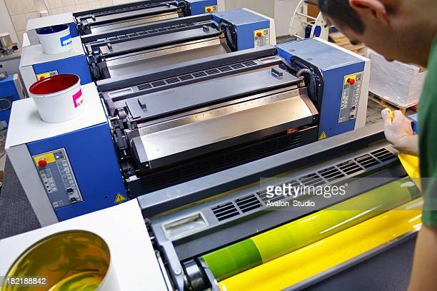 printer distributes the ink in the printing press - image technique stock pictures, royalty-free photos & images