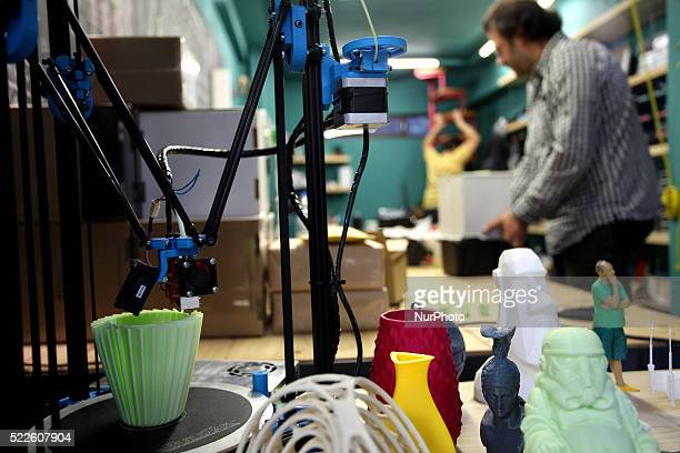 A 3D printer in action in a shop in Athens April 15 2016
