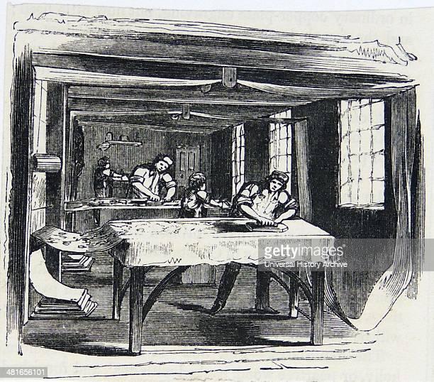 Printing Calico using hand blocks Engraving London 1860