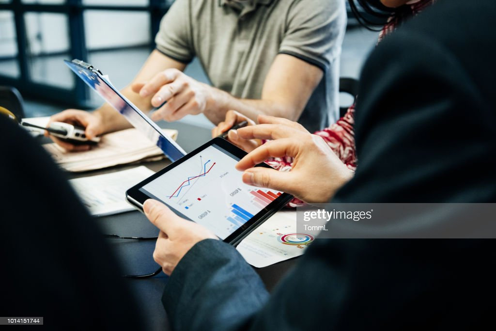 Printing Factory Management Team Holding Meeting : Stock Photo