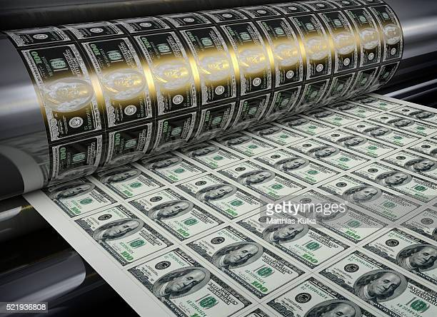 printing hundred dollar banknotes - money printer stock pictures, royalty-free photos & images