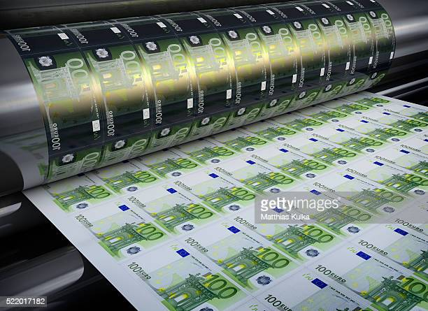 printing hundred euro banknotes - money printer stock pictures, royalty-free photos & images