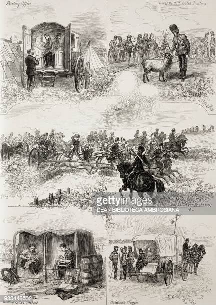 Printing office a soldier 23rd Welsh fusiliers with a goat towing a cannon with horses repairing horse collars ambulance wagon scenes from the autumn...