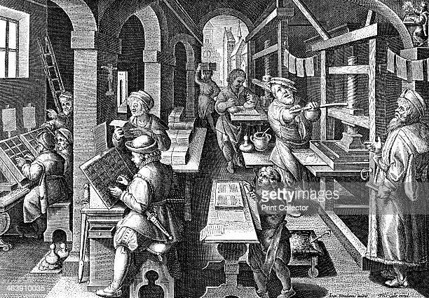 Printing office c1600 On the left compositors are at work setting up text using letters from a 'case' in front of them In the centre background type...