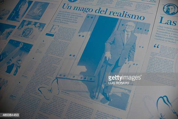 A printing plate from a local newspaper whose front page announces the death of Colombian Literature Nobel Prize 1982 laureate Gabriel Garcia Marquez...