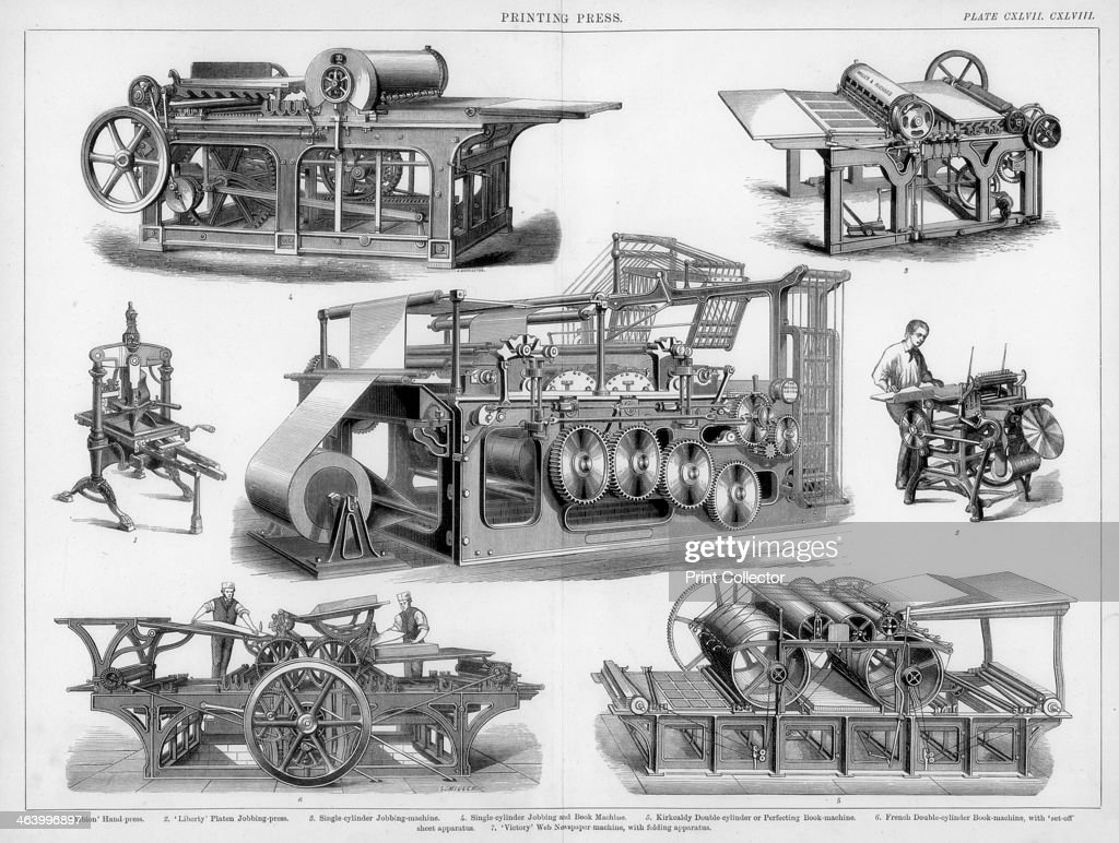 Printing presses, 19th or 20th century. Artist: S Miller : News Photo