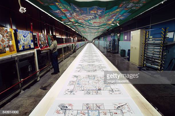 Printing studio for the designs of the famous square silk scarves of Hermes
