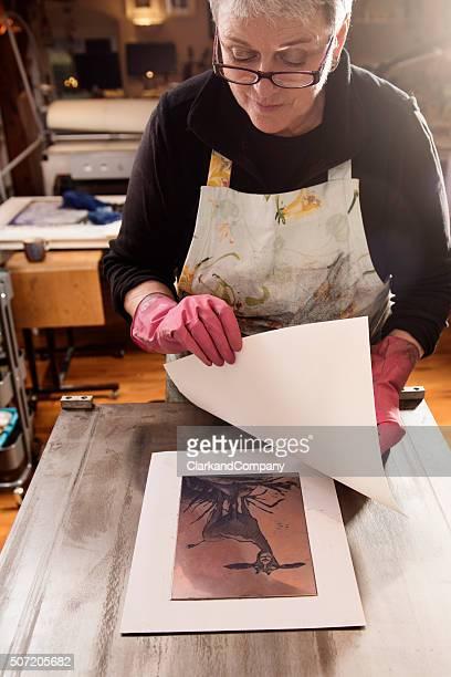 Ein Stich Grafiker Drucken