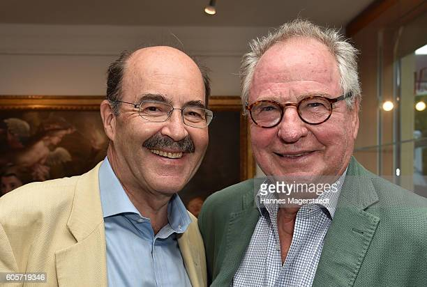 Prinz Fritz von Thurn und Taxis and Friedrich von Thun during a cocktail reception hosted by the Dorotheum on September 14 2016 in Munich Germany