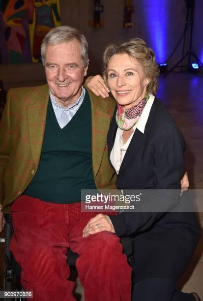 Prinz Peter zu Hohenlohe and Ilona Gruebel during 'Der andere Laufsteg' exhibition opening in Munich at Staatliches Museum Aegyptischer Kunst on...