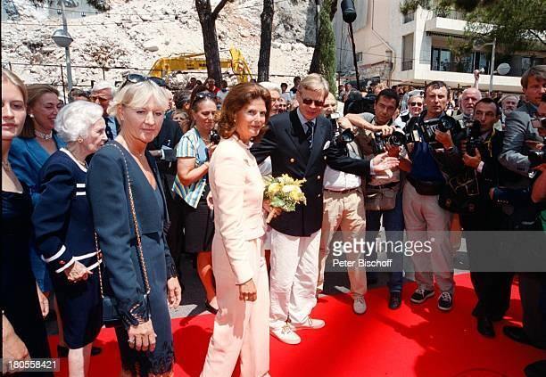 """Prinzessin Lilian, Königin Silvia von;Schweden, Mikael Krafft , Taufe des weltgrößten;5-Mast Vollschiffs """"Royal Clipper"""",;Monaco, Monte Carlo, roter..."""