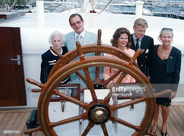 Prinzessin Lilian von Schweden, Roger;Moore, Königin Silvia von Schweden, Mikael;Krafft ,Ehefrau Ann Krafft, Taufe;des weltgrößten 5-Mast Vollschiffs...