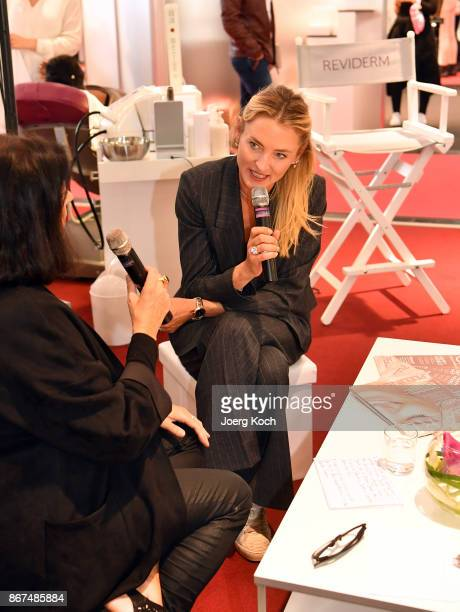 Prinzessin Lilly zu SaynWittgensteinBerleburg and host Marina Jagemann attend the Bunte Beauty Days at Messe Muenchen on October 28 2017 in Munich...