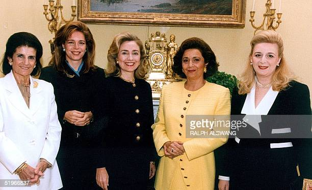 Prior the signing of the IsraelPalestine Interim agreement First Lady Hillary Rodham Clinton hosts a tea in the White House's Yellow Oval Room for...