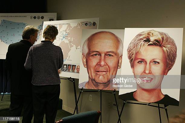 Prior to a press conference at the US District Court in Boston on Tuesday, December 21, members of the media look at display boards detailing Whitey...