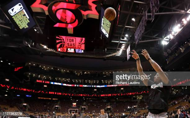 Prior to the start of the game DeMar Derozan warms up in his old arena The Toronto Raptors took on the San Antonio Spurs in NBA basketball action at...