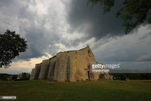 Priory Salagon under dark clouds in Mane, Provence France.