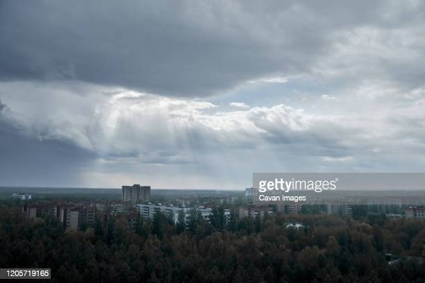 pripyat city in the rain from the roof of a multi-storey building - chernobyl stock pictures, royalty-free photos & images