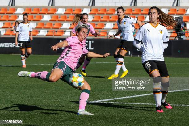 Priscila Borja of Real Betis Balonpie in action during the Spanish League Primera Iberdrola women football match played between Valencia CF Femenino...