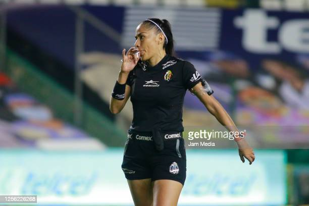 Priscila Perez Borja central referee gives instructions during a match between Leon and FC Juarez as part of the friendly tournament Copa Telcel at...