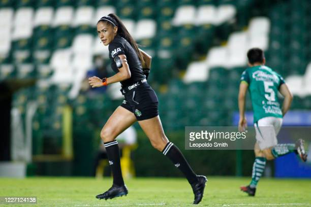 Priscila Perez Borja central referee looks on during a match between Leon and FC Juarez as part of the friendly tournament Copa Telcel at Leon...