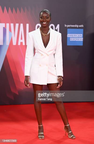 """Priscilla Anyabu attends the """"King Richard"""" UK Premiere during the 65th BFI London Film Festival at The Royal Festival Hall on October 15, 2021 in..."""