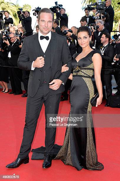 Priscilla Betti and a guest attend the Mr Turner premiere during the 67th Annual Cannes Film Festival on May 15 2014 in Cannes France