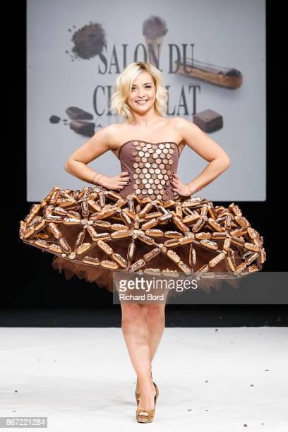 Priscilla Betti walks the runway during the Dress Chocolate show as part of Salon du Chocolat at Parc des Expositions Porte de Versailles on October...