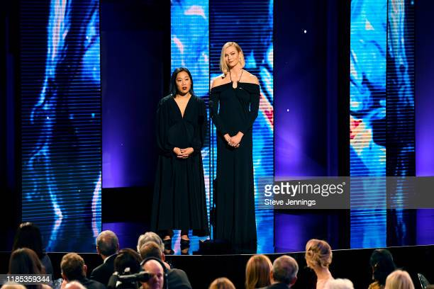 Priscilla Chan and Karlie Kloss speak onstage the 2020 Breakthrough Prize at NASA Ames Research Center on November 03 2019 in Mountain View...