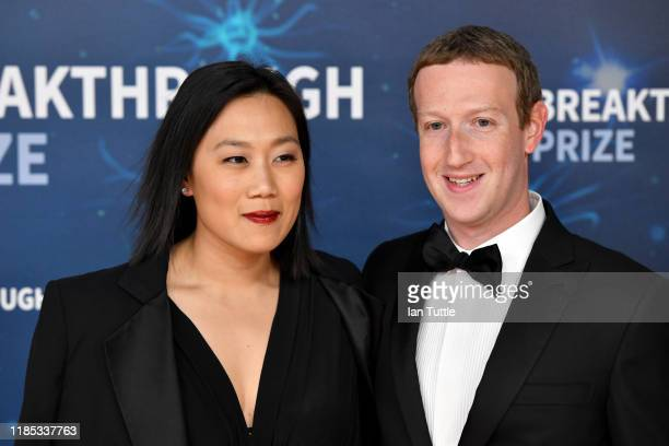 Priscilla Chan and Mark Zuckerberg attend the 2020 Breakthrough Prize Red Carpet at NASA Ames Research Center on November 03, 2019 in Mountain View,...