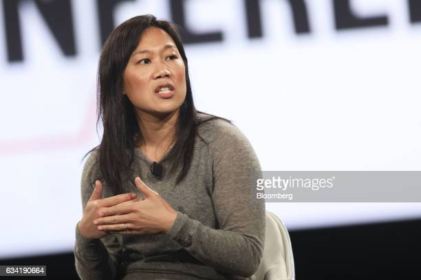 Priscilla Chan cofounder of the Chan Zuckerberg Initiative LLC participates in a panel discussion during the 2017 MAKERS Conference in Rancho Palos...