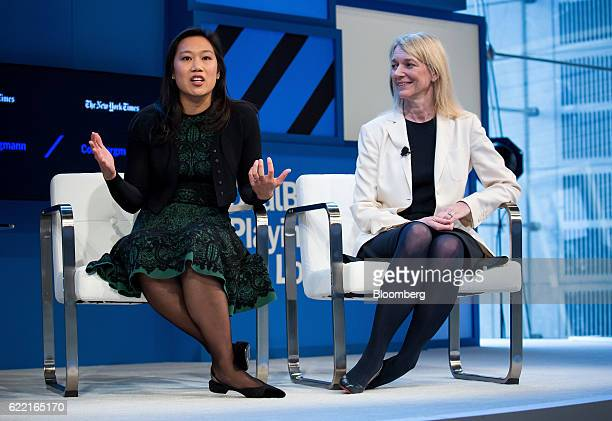 Priscilla Chan cofounder of the Chan Zuckerberg Initiative LLC left speaks as Cori Bargmann incoming president of science for the Chan Zuckerberg...
