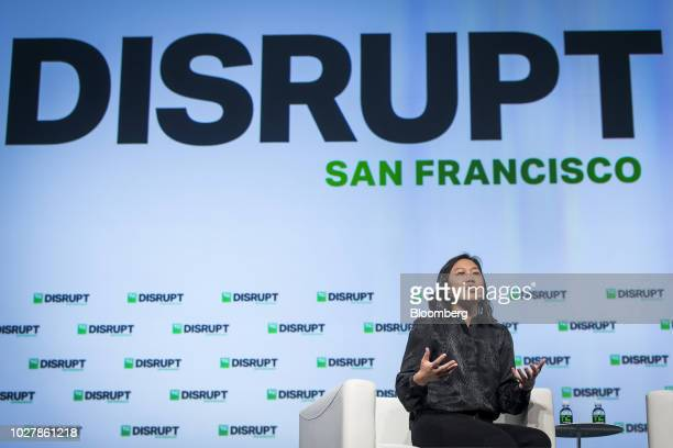 Priscilla Chan cofounder of the Chan Zuckerberg Initiative LLC speaks during the TechCrunch Disrupt 2018 in San Francisco California US on Thursday...