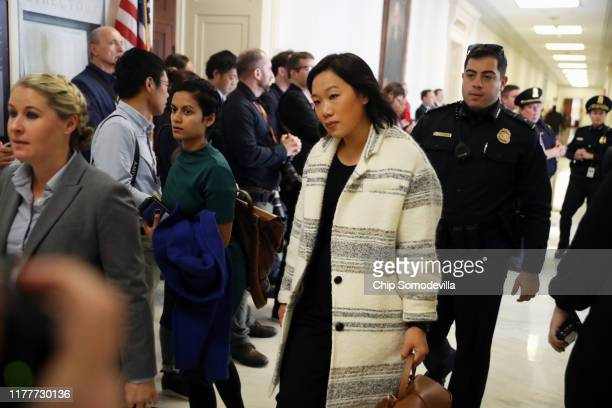 Priscilla Chan the wife of Facebook cofounder and CEO Mark Zuckerberg arrives at the House Financial Services Committee in the Rayburn House Office...