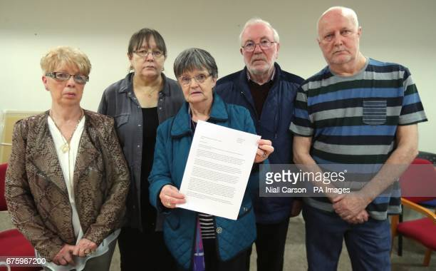 Priscilla Clarke Pat Irvine Margaret McCready Tommy McCready and Sam Irvine at Solicitor Kevin Winters offices in Belfast they all lost relatives in...