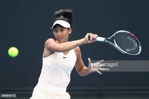 Priscilla Hon of Australia competes in her third round match against Irina Falconi of United States during 2018 Australian Open Qualifying at...