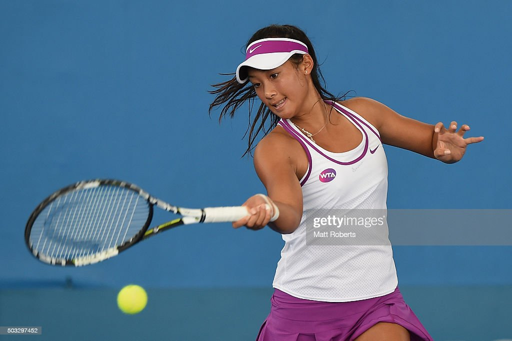 Priscilla Hon of Australia plays a forehand against Samantha Crawford of the United States during day two of the 2016 Brisbane International at Pat Rafter Arena on January 4, 2016 in Brisbane, Australia.